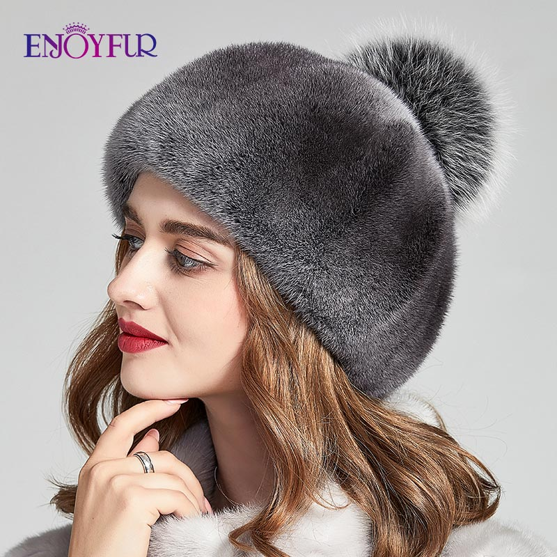 ENJOYFUR Whole Mink Fur Winter Hats For Women Luxury Real Fur Pompom Cap Female Fashion Octagonal Hat New Warm Beanies