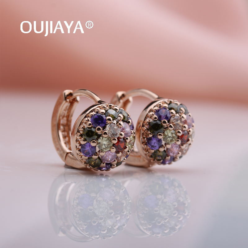 OUJIAYA New Arrivals Women Luxury 585 Rose Gold drop earrings Round ball Natural Zircon Earrings Bridal Wedding Jewelry hot A105(China)