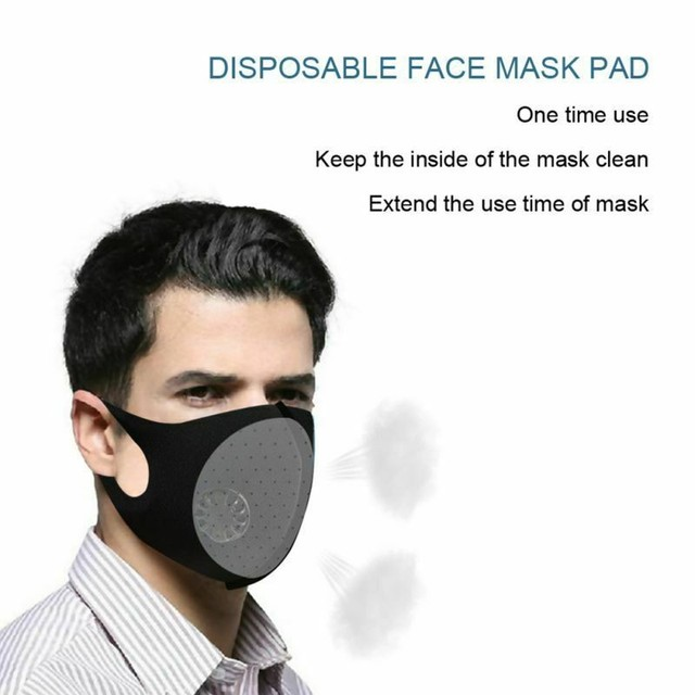 PM2.5 Black Mouth Mask Anti Dust Mask Activated Carbon Filter Windproof Mouth-muffle Proof Flu Face Masks Care Unisex 1