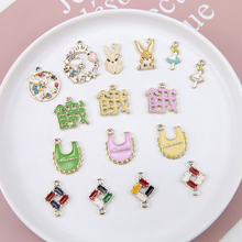 4pcs new design hot-sales alloy rabbit wreath rice pocket stitching text pendant cartoon earrings for girls jewelry accessories