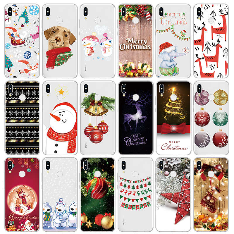 Merry Christmas Clear Cute Soft TPU Coque Print Cases For Huawei Mate 30 10 20 Y9 Lite Pro P Smart Plus 2019 Z Case Fundas Cover