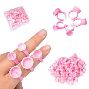 Image 1 - 100 pezzi tappi usa e getta Microblading anello rosa tazza di inchiostro per tatuaggio per forniture di aghi per tatuaggio accessori per trucco strumenti per tatuaggi