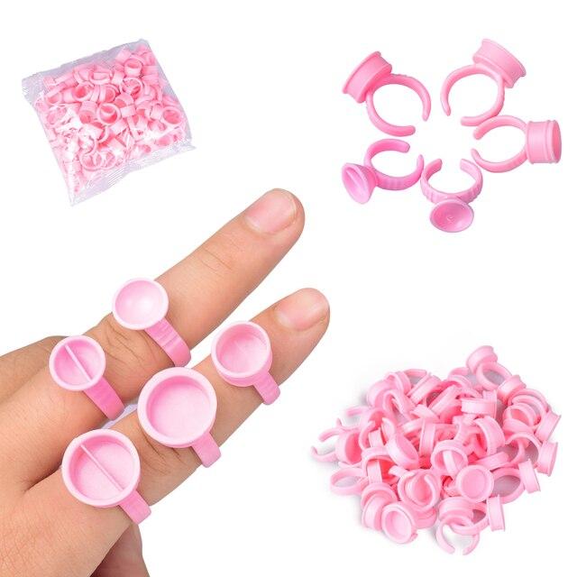 100 sztuk jednorazowe czapki Microblading różowy pierścień tusz do tatuażu kubek na igła do tatuażu akcesoria Accessorie makijaż narzędzia do tatuażu