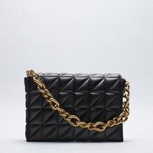 Sac à main matelassé avec chaîne épaisse pour femmes, sacs à bandoulière de marque, 2020