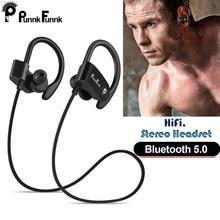 Auriculares inalámbricos con Bluetooth 5,0, dispositivo deportivo, resistente al agua, estéreo de graves Ipx4 con micrófono, PunnkFunnk