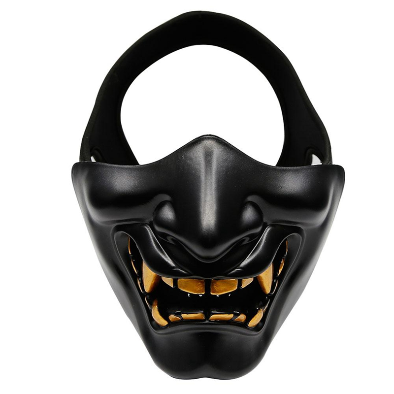 Halloween Costume Cosplay Tooth Decay Evil Demon Kabuki Samurai Half Cover Mask Party Scary Decoration