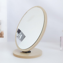 Cute Adjustable Angle 360 Degree Wooden Table Small Makeup Foldable Cosmetic Desktop Rotating Mirror Portable Standing