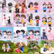 2pcs/set Lovers Couple Miniature Mini Doll DIY Terrarium Figurines Fairy Garden Decor Valentine's Day Gift Home Accessories