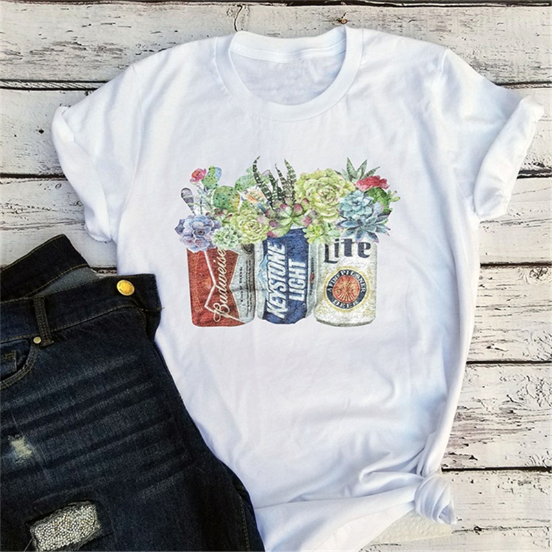 Vintage Tees Graphic T Shirts Streetwear Girls Top Cups With Coffee Tee Succulent Floral Cactus Tshirt Plus Size Tops