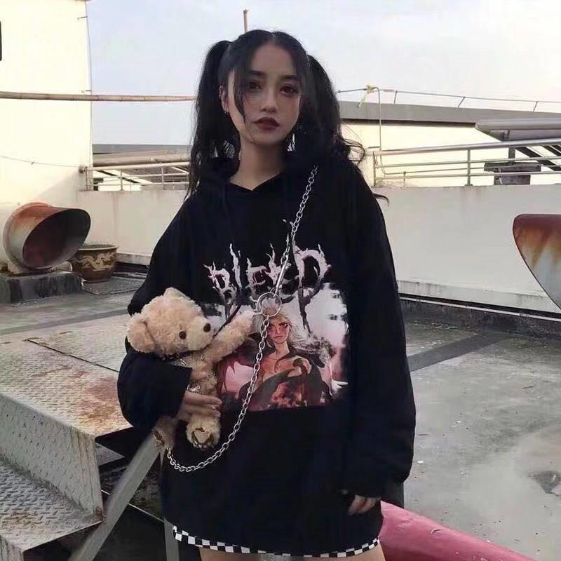 High Street Hoodies Women Loose Long Sleeve Style Harajuku New Fall Autumn Winter Wearing Fashion Sweatshirts Girls Hip Hop
