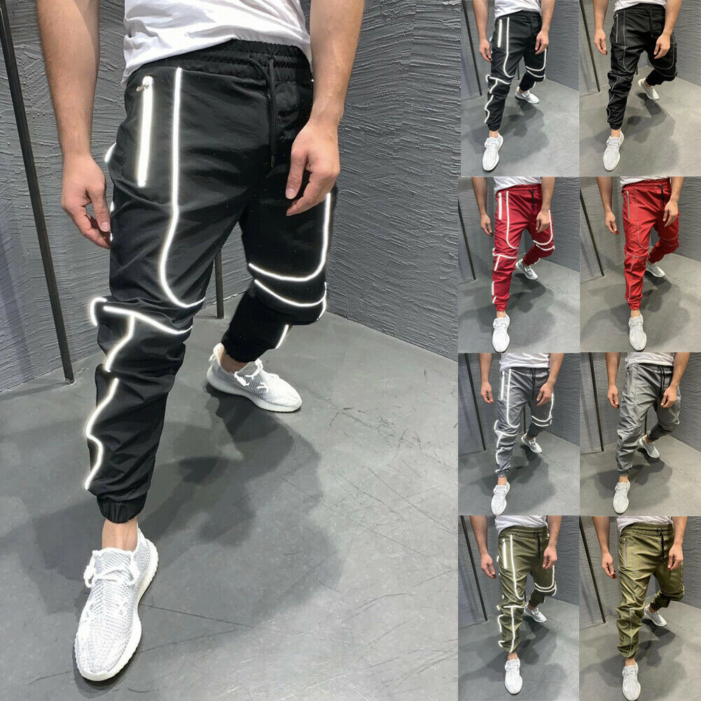 Cool Men Hip Hop Reflective Casual Climbing Waterproof Drawstring Long Pants Outdoor Tactical Pencil Combat Trousers