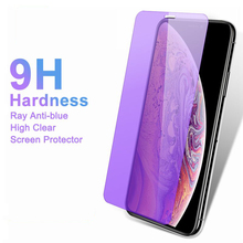 9H 2.5D Anti Blue Ray Purpel Light Tempered Glass for iPhone X XR XS 11 Pro MAX 8 7 6 6S Plus 5 5S S