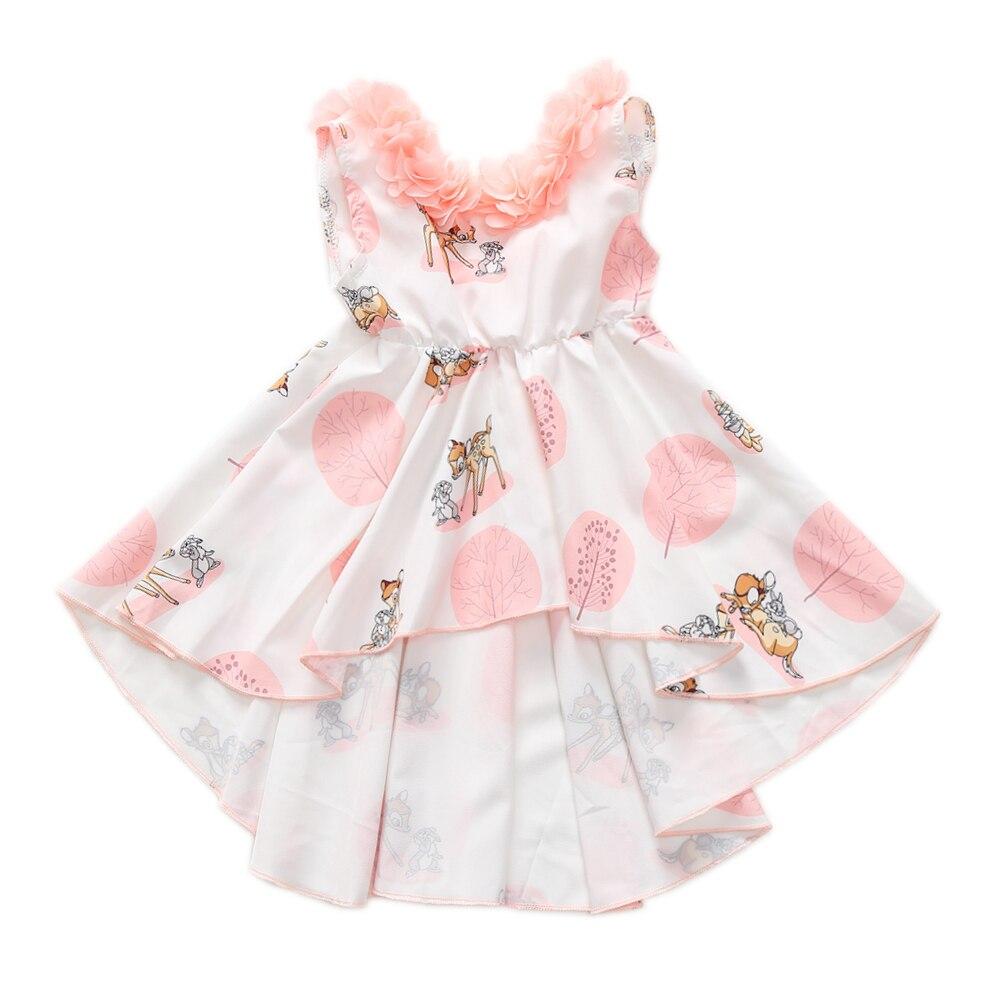 1-5T Vestidos Das Meninas Do Bebê Dos Cervos & Coelho Rosa Estampado Floral Applique Vestido de Princesa Meninas Aberto Para Trás Casamento partido Alto Baixo Vestidos