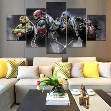 цена на 2016 Hot 5 Pcs Large HD Teenage Mutant Ninja Turtles With Abstract Canvas Print Painting for Living Room Wall Art Picture Gift