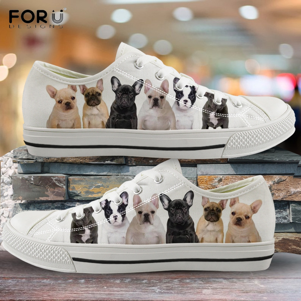 FORUDESIGNS Cute 3D Animal French Bulldog/Boston Terrier Woman Low Top Canvas Shoes Funny Pattern Ladies Shoes Lace Up Sneakers