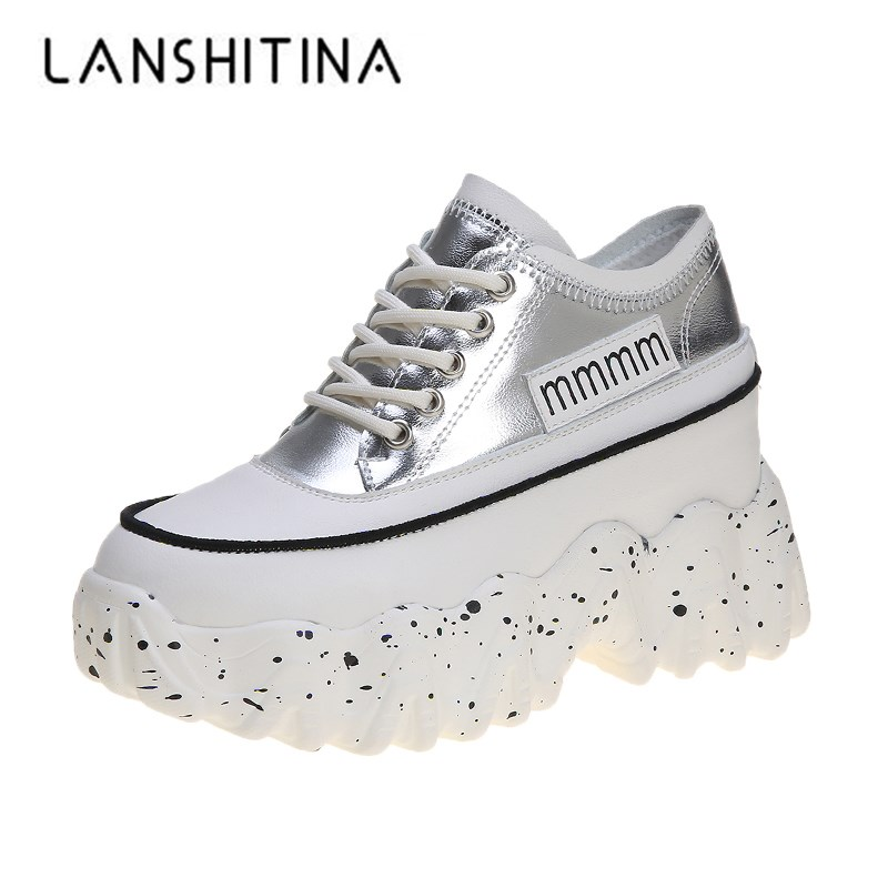 Women Chunky Sneakers 2020 Spring 8.5CM High Heels Casual Shoes Thick Soled Lace-up Ladies Shoes Wedge Platform Sneakers Woman