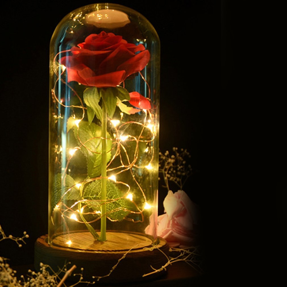Rose LED Night Lamp String Light In A Glass Dome Wooden Base Valentine's Day Gifts Room Decor Battery Power
