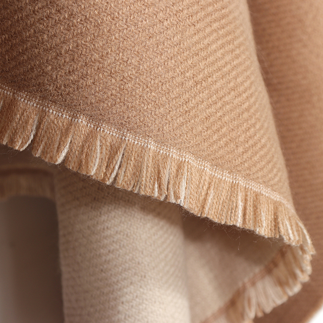 New Fashion Double Sides Winter Poncho Cashmere Women Poncho Scarf Foulard Femme Wool Shawl Poncho And Caps Tassle 6