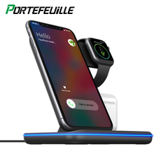 3 In 1 Wireless Charger Dock Station Pad For Iphone X 8 Plus Xr 11 Pro Xs Max And Apple Watch 4 3 2 Cargador Qi 15W Inalambrico