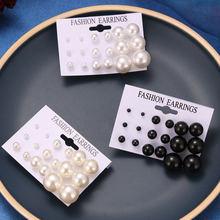 FNIO Weiß Simulierte Perle Ohrringe Set Für Frauen Auf Ohr Ball Stud Ohrringe Bijouteria brincos Schmuck Zubehör Großhandel