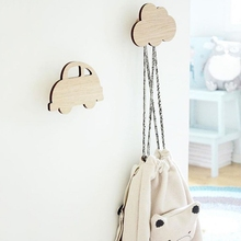 Nordic Style Wall Clothes Hooks Cartoon Clouds Cactus Design Kids Room Sticker Decoration Clothing Hanger