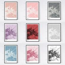 La paz, bolívia mapa de impressão da arte-muitos estilos-scandi/vintage/arte da parede quadros modulares moderno casa decoração cartazes
