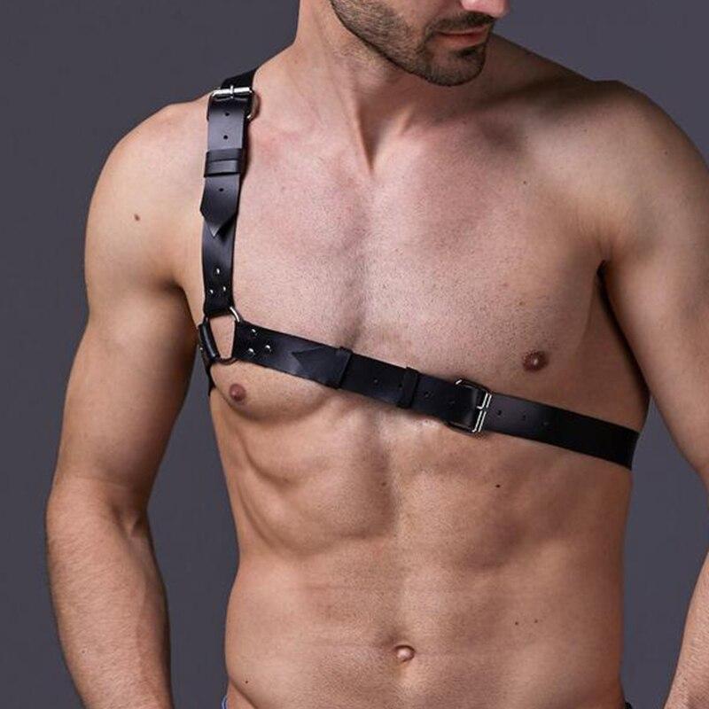 CEA Men Sexy Shoulder Leather Harness Belt Man Tops PU Suspender Adult Nightwear Vest  Buckles Straps Club Costumes Color Belts