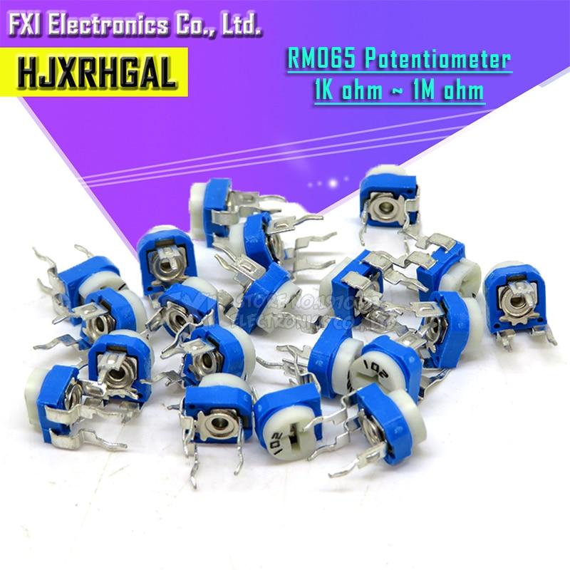 20pcs RM065 RM-065 100 200 500 1K 2K 5K 10K 20K 50K 100K 200K 500K 1M Ohm Trimpot Trimmer Potentiometer Variable Resistor
