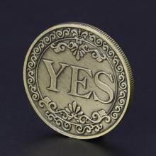 Sim ou não decisão moeda coleção de arte sim não carta moeda comemorativa 1 pçs criativo liga moeda collectible ótimo presente