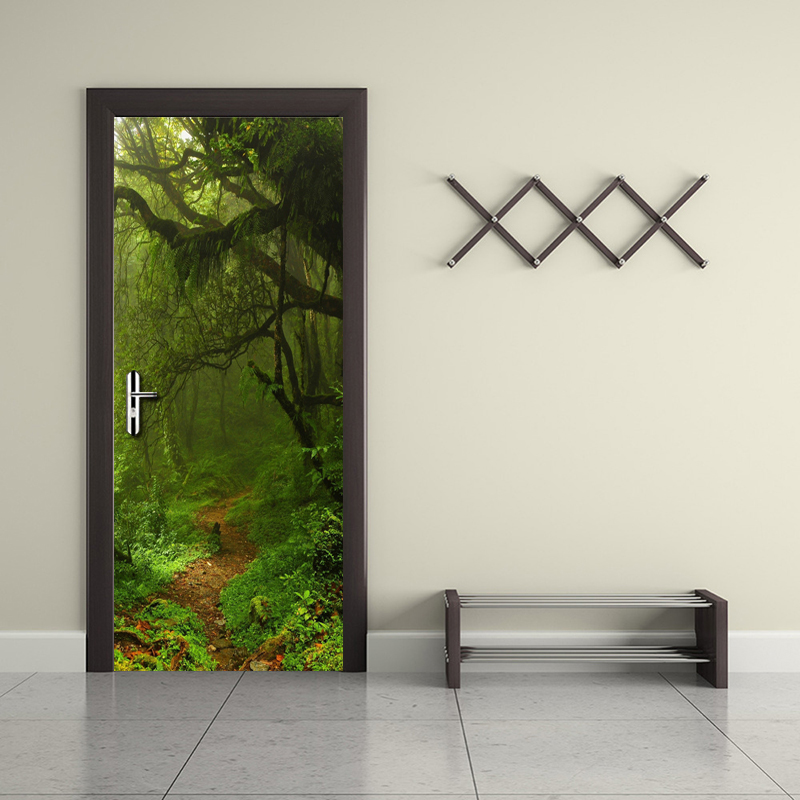 Self Adhesive 3d Door Sticker Home Decoration Forest Waterproof Wallpaper Print Picture Wall Artwork Renovation For Living Room|Door Stickers| |  - title=