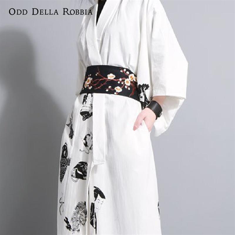 OddDellaRobbia Four Seasons New Vintage Style Japanese Plum Embroidery Pu Waist Seal Wild Winding Lace Belt 112