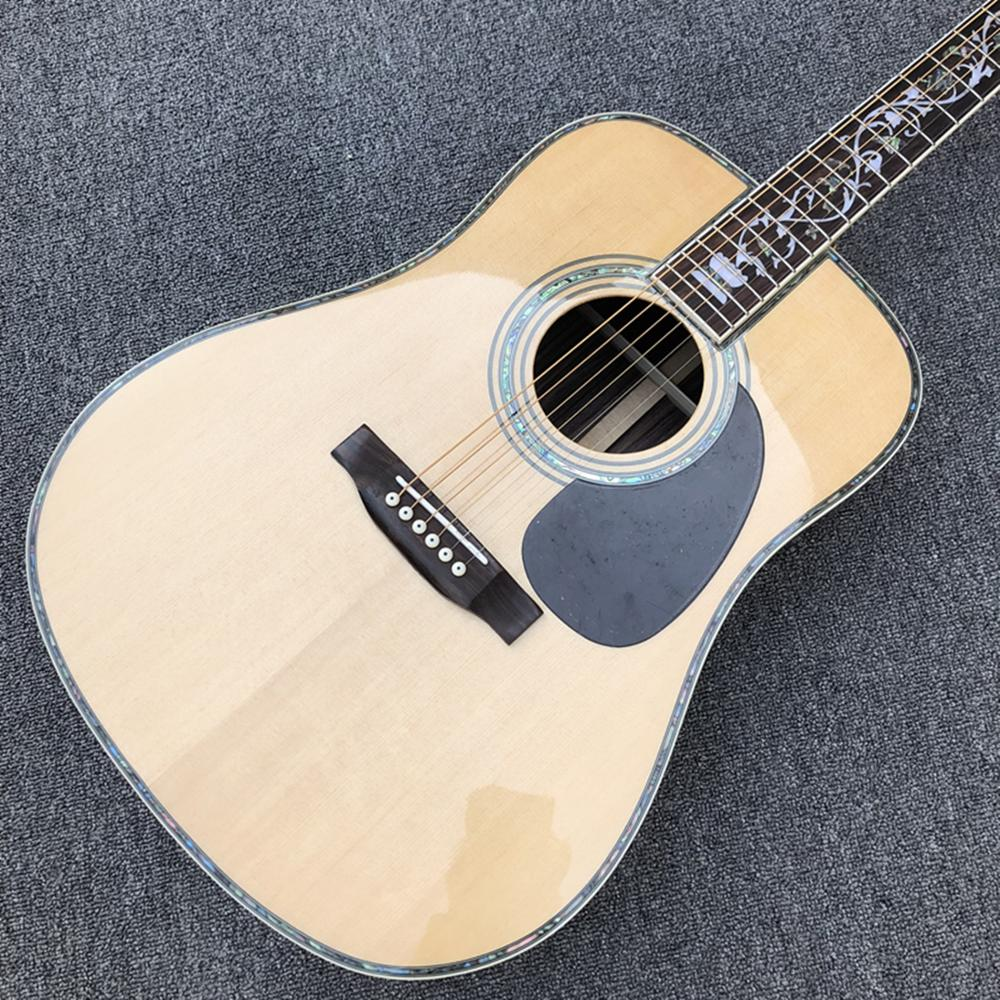 FACTORY CUSTOM 41 Inch D Model Acoustic Guitar,real Abalone Binding,Solid Spruce Top,6 Strings Electric Guitar, Free Shipping