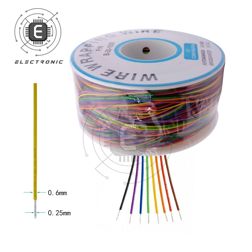 Un rouleau 280m 30AWG fil demballage en cuivre plaqué étain câble solide platine de prototypage cavalier isolation électronique conducteur fil connecteur