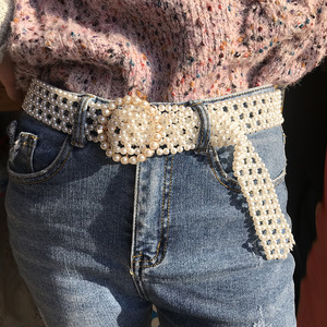 SeeBeautiful, новая мода 2020, осенне-зимний мужской тканый длинный широкий пояс с пряжкой, белый жемчуг, женский пояс