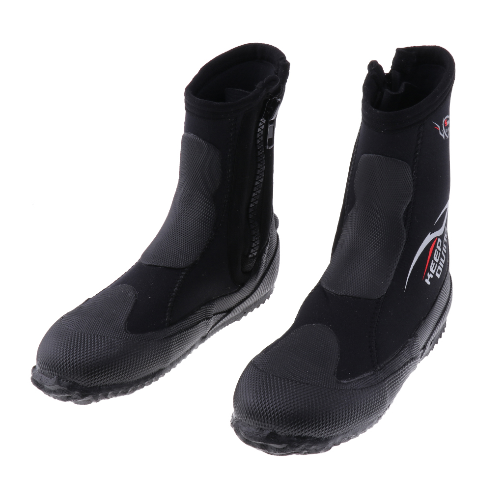 Wetsuits Premium Neoprene 5mm Hi Top Zipper Boot Water Shoes Super Stretch & Keep Warm For Scuba Diving Surfing, Snorkeling