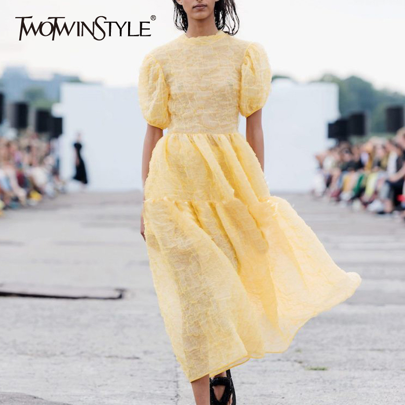 TWOTWINSTYLE Elegant Dress For Women O Neck Short Puff Sleeve High Waist Loose Ankle Length Dresses Female Spring New 2020