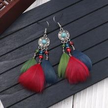 BTWGL 2019 Vintage Ethnic Long Feather Tassel Ladies Earrings Bohemian Style Jewelry Gifts