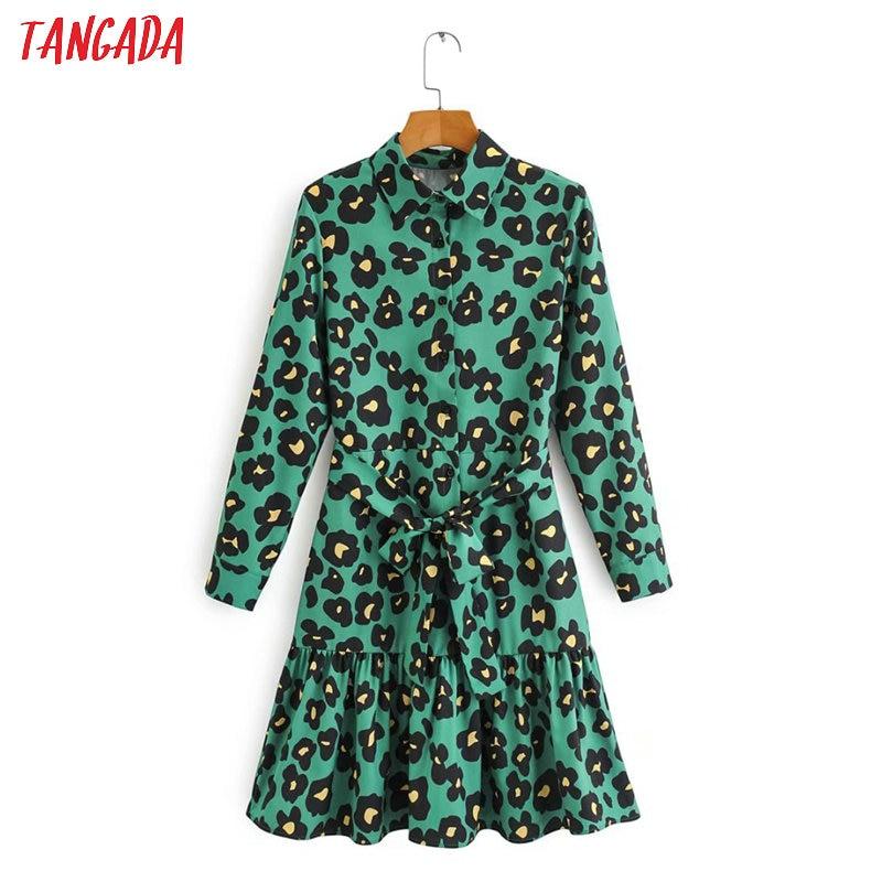 Tangada Fashion Women Green Leopard Chiffon Shirt Dress Ruffles Ladies Elegant Pleated Work Midi Dress Vestidos 1F90