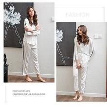 Stylish Autumn Women's Solid Pajamas Sets Button Long Sleeve Loose T-shirt Top and Silk-like Satin High-waist Long Pants S-XL фартук fine line желтый