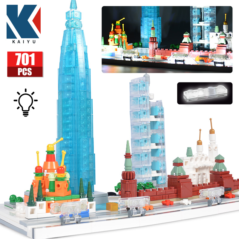 KAIYU LED City street view Building Blocks Creator Famous architecture Moscow Wuhan Guangzhou house Bricks toys for children