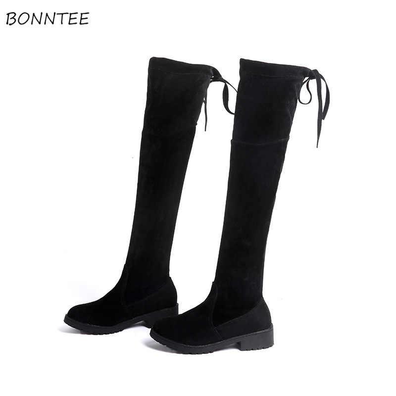 รองเท้าผู้หญิง Elegant Flock Over-the-เข่า Boot ยาวผู้หญิงเกาหลีอินเทรนด์สแควร์ส้นฤดูหนาวต้นขาสูงรองเท้าผู้หญิงอบอุ่น