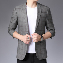 Suit Jacket Blazers Coat Oversize Long-Sleeve Plaid Male Fashion Autumn Masculino Terno