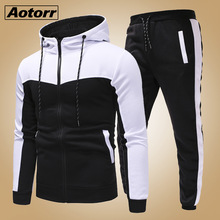 Male Tracksuit Pants-Sets Hoodies Sweat-Shirts Men Set Slim-Fit Zipper Men's Casual Clothing