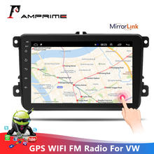 Amprime 2 din rádio do carro 8 polegada android 6.0 tela de toque jogador multimídia do carro bluetooth mp5 player com gps wifi rádio fm para vw(China)