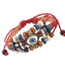 Кожаный браслет chenfan с бусинами для мужчин и женщин регулируемый