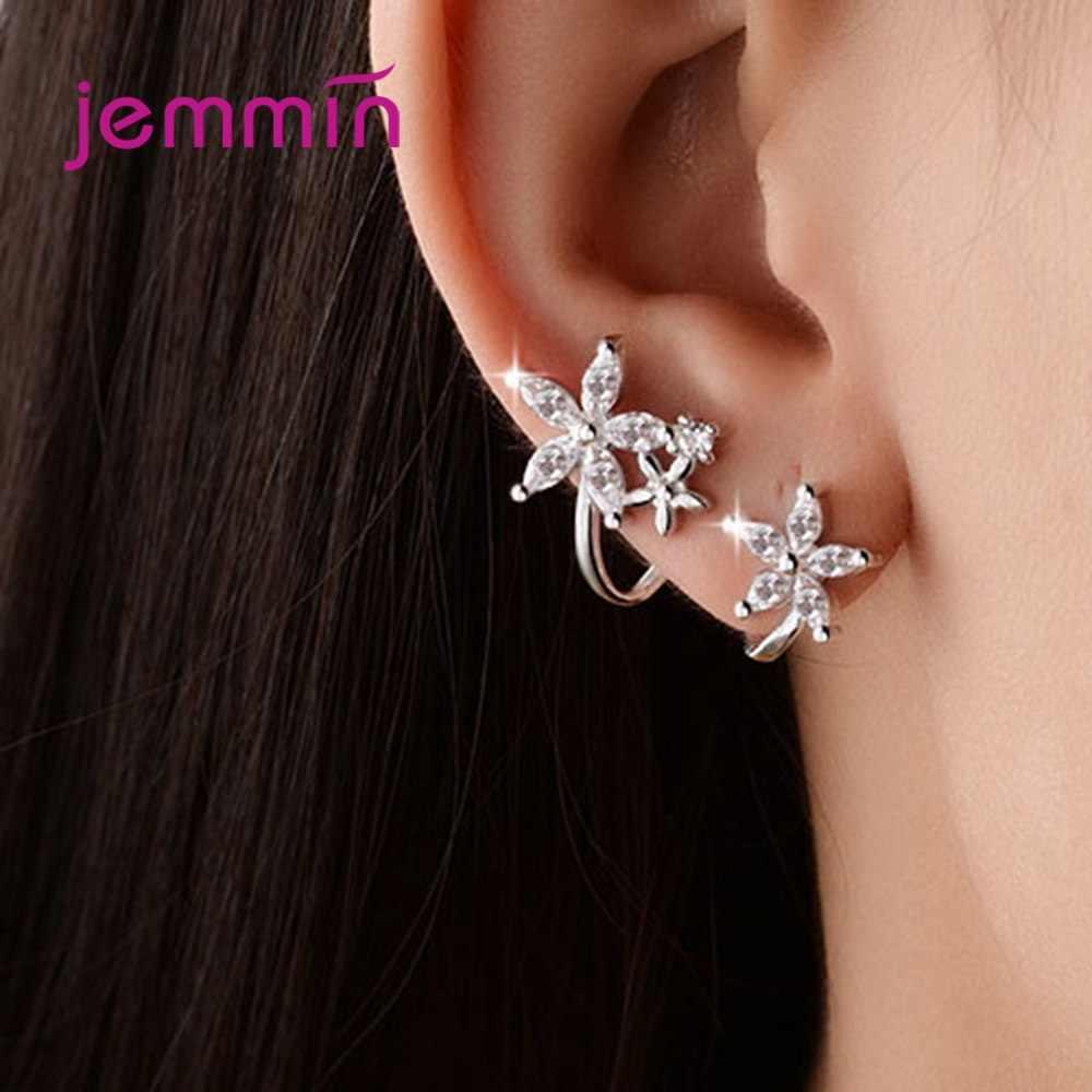 925 prata esterlina cz zircon borboleta estrela flor clipe brinco para mulher pendientes presente instrução punk venda quente jóias