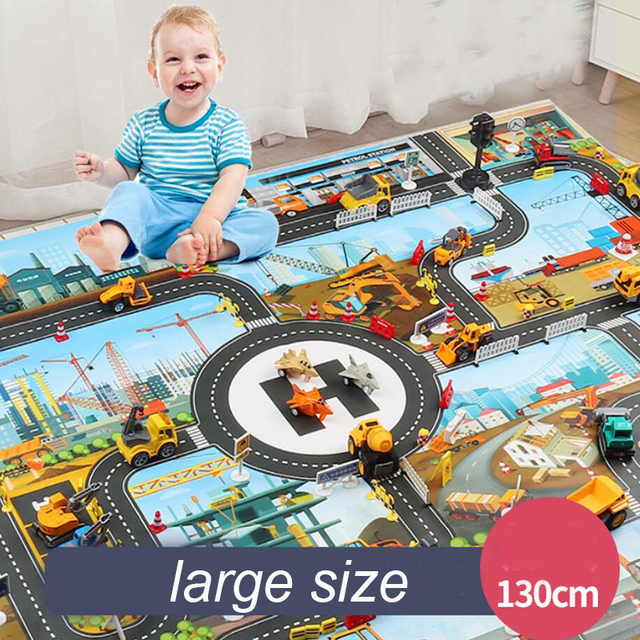 City Traffic Car Park Play Mat Waterproof Parking Lot Kids Playmat Kids Rug Boy Girl Educational Toys for Children Map​