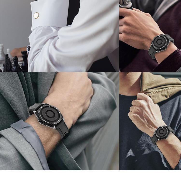Hfcf8f80f01744a839d1bdbfac67fc224n Eutour magnetic watch parallel time and space black technology men's couple wristwatch women's wristwatch personality gel wristb