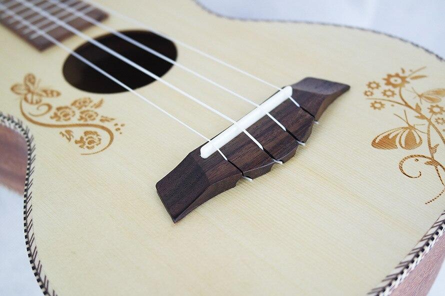 SevenAngel Concert acoustique ukulélé 23 pouces épicéa hawaïen guitare électrique Ukelele papillon amour fleur motif avec pick-up EQ - 5
