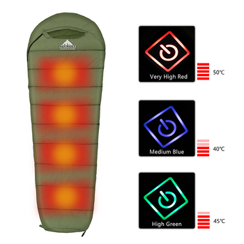 Agemore 220x80cm Envelope Winter Sleeping Bag Electric Heating Camping Sleeping Bag Outdoor Traveling Sleeping Bag Waterproof 3